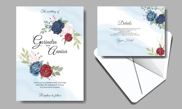 Carta di invito di nozze con belle rose Vettore Premium