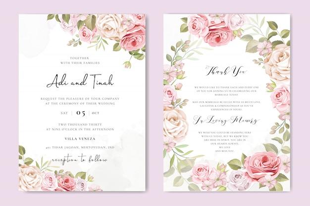 Carta di invito di nozze con bellissimi fiori e foglie Vettore Premium