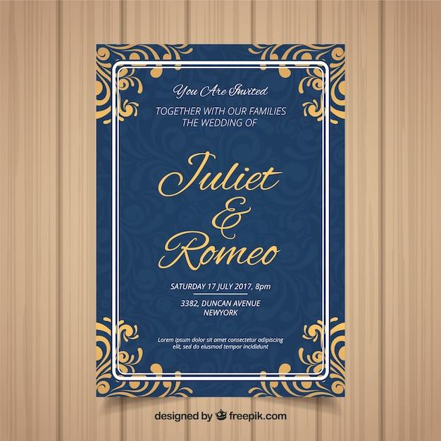 Carta di invito di nozze con diversi ornamenti Vettore gratuito