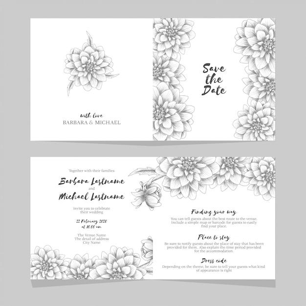 Carta di invito di nozze con fiore di dalia disegnati a mano Vettore Premium