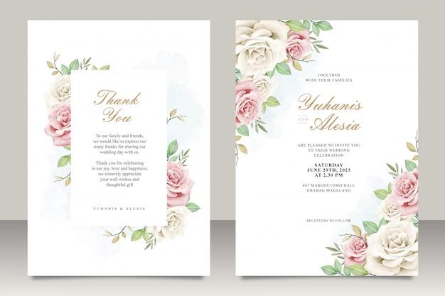 Carta di invito di nozze con fiori e foglie Vettore Premium