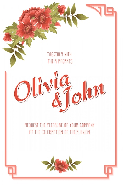 Carta di invito di nozze con fiori Vettore gratuito