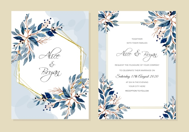 Carta di invito di nozze con foglie blu acquerello Vettore Premium