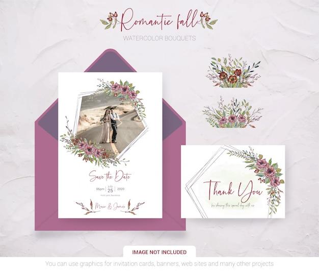Carta di invito di nozze con la tua foto Vettore Premium