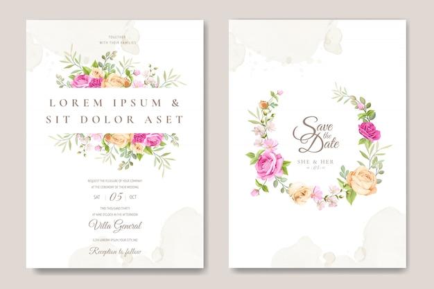 Carta di invito di nozze con modello di belle rose Vettore Premium