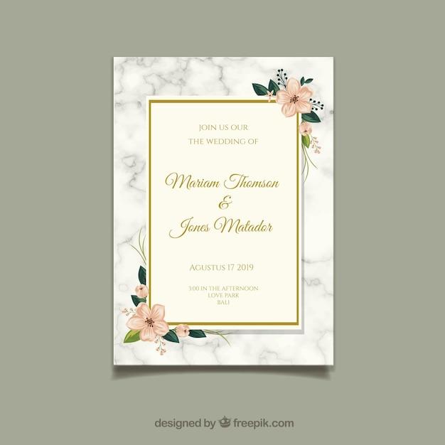 Carta di invito di nozze con ornamenti floreali Vettore gratuito