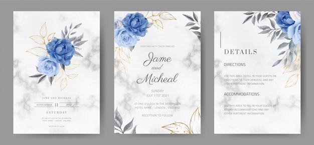 Carta di invito di nozze con sfondo di marmo. colore rosa in blu navy. acquerello dipinto set di carte tamplate. Vettore Premium