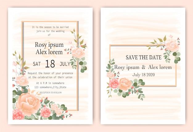 Carta di invito di nozze cornice disegnata a mano floreale. Vettore Premium