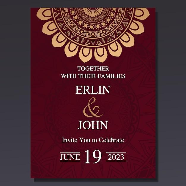 Carta di invito di nozze di lusso ed elegante Vettore Premium