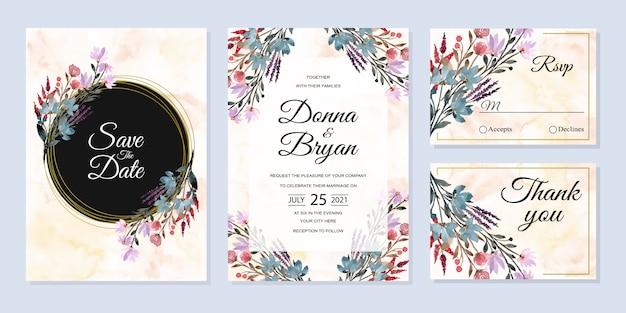 Carta di invito di nozze impostato con sfondo floreale astratto dell'acquerello selvaggio Vettore Premium