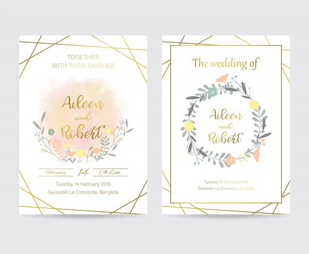 Carta di invito di nozze oro geometria con fiore, foglia e cornice Vettore Premium