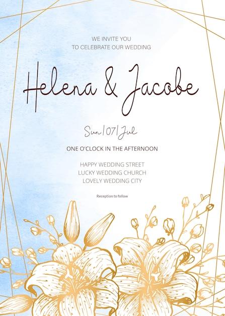 Carta di invito di nozze, salva la data con sfondo acquerello, cornice dorata, fiori, foglie e rami. Vettore Premium
