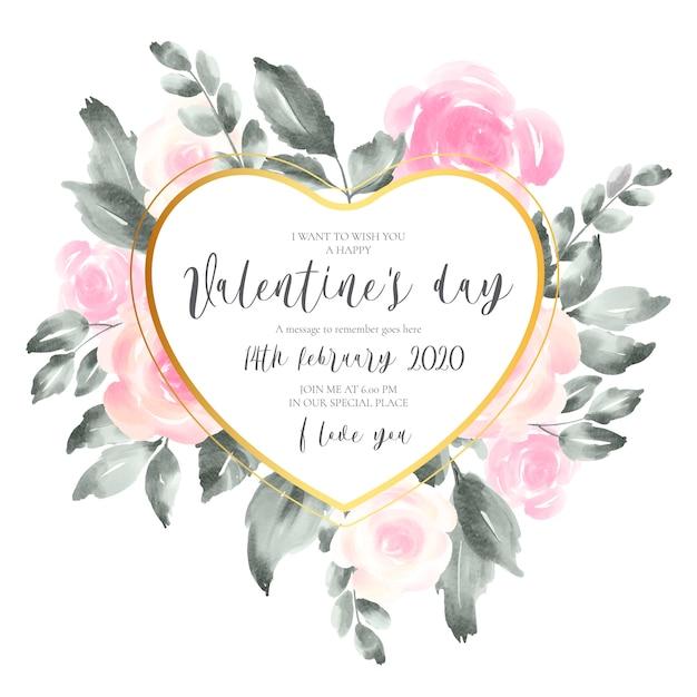 Carta di invito di san valentino con morbidi fiori rosa Vettore gratuito
