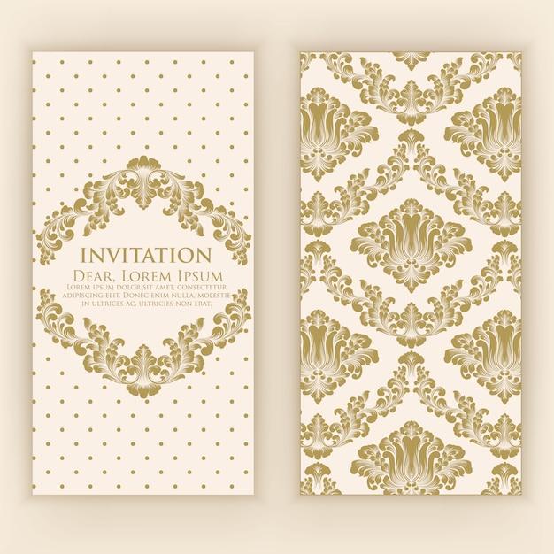 Carta di invito e annuncio di nozze con opere d'arte vintage Vettore gratuito