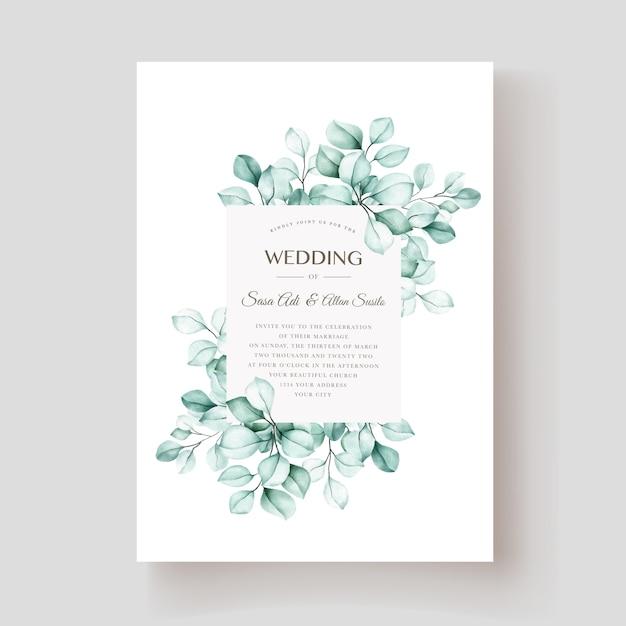 Carta di invito elegante eucalipto acquerello Vettore gratuito