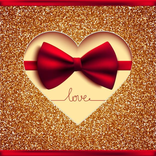 Carta di invito, fiocco e glitter oro Vettore Premium