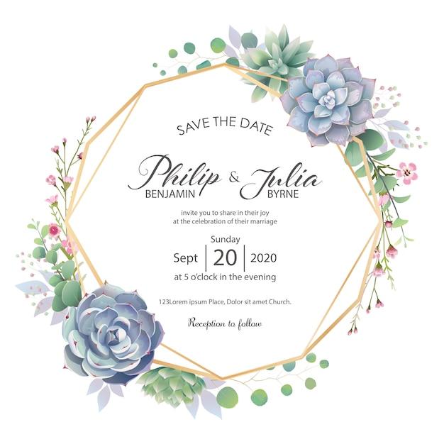 Carta di invito matrimonio bella verde Vettore Premium