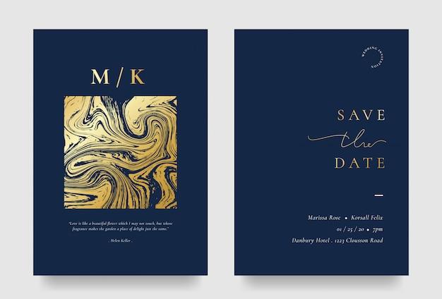 Carta di invito matrimonio elegante con elemento liquido dorato Vettore Premium