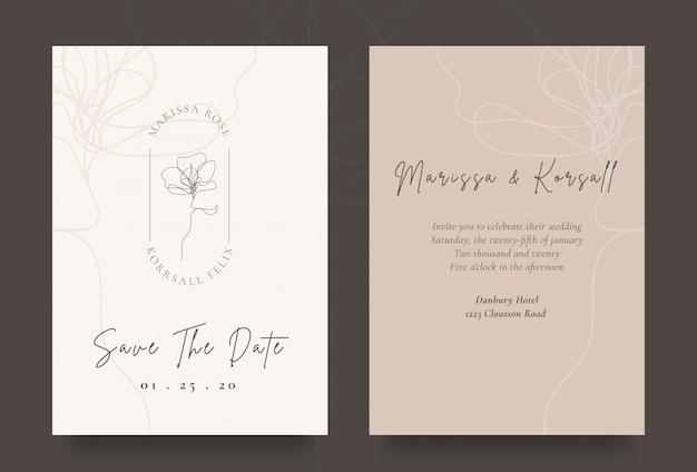 Carta di invito matrimonio elegante con logo fiore fresco Vettore Premium