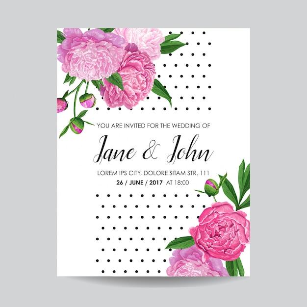 Carta di invito matrimonio floreale con fiori Vettore Premium