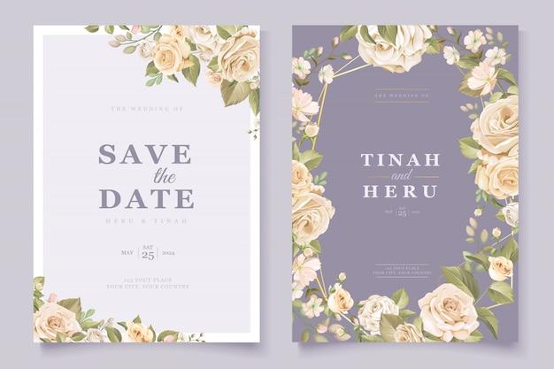 Carta di invito matrimonio floreale elegante Vettore gratuito