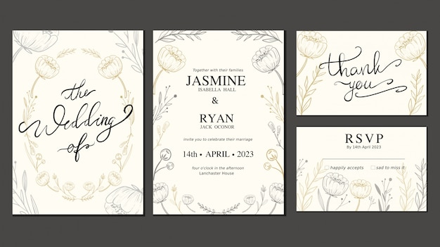 Carta di invito matrimonio impostato con fiori disegnati a mano e corona Vettore Premium