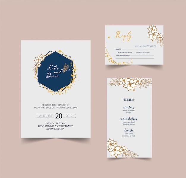 Carta di invito matrimonio moderno Vettore Premium