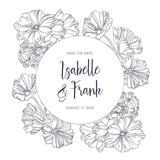 Carta di invito matrimonio vintage con fiori blu Vettore gratuito