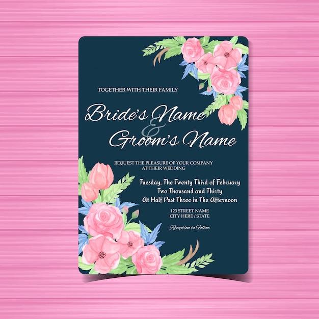 Carta di invito matrimonio vintage con splendidi fiori Vettore Premium
