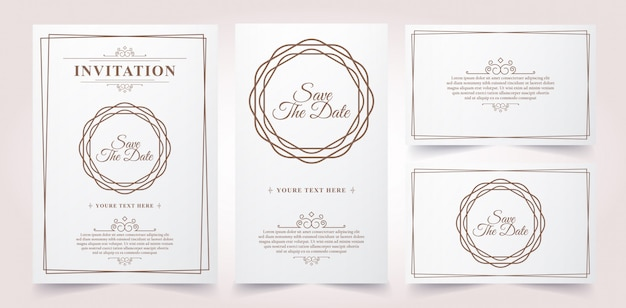 Carta di invito vintage di lusso Vettore Premium