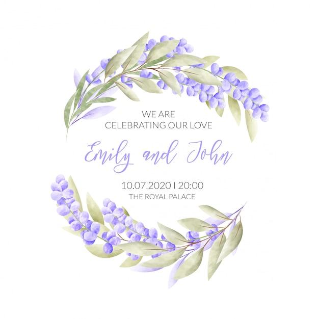 Carta di matrimonio con cornice floreale Vettore gratuito
