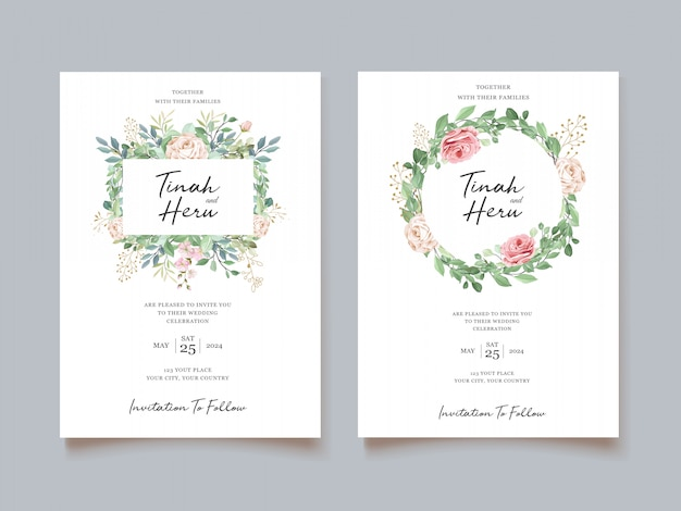 Carta di matrimonio elegante con bellissimo modello floreale e foglie Vettore gratuito