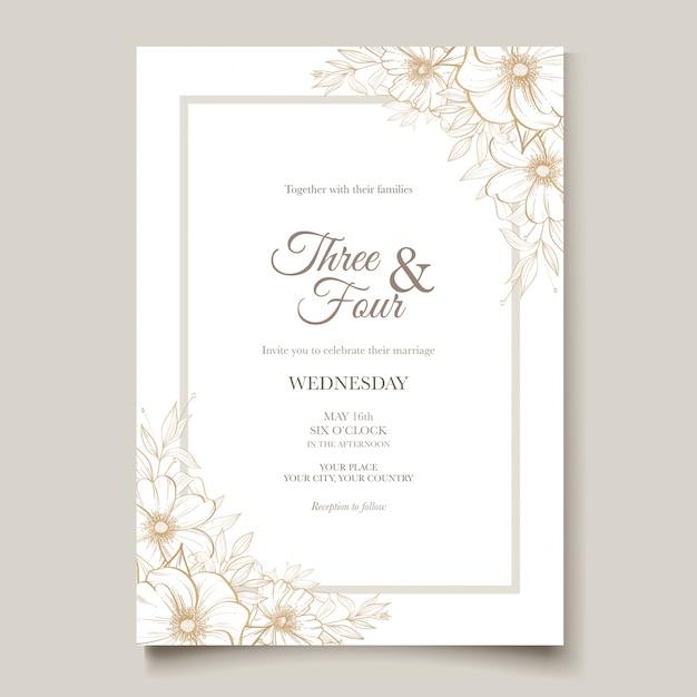 Carta di matrimonio elegante linea arte con bellissimo modello floreale e foglie Vettore Premium