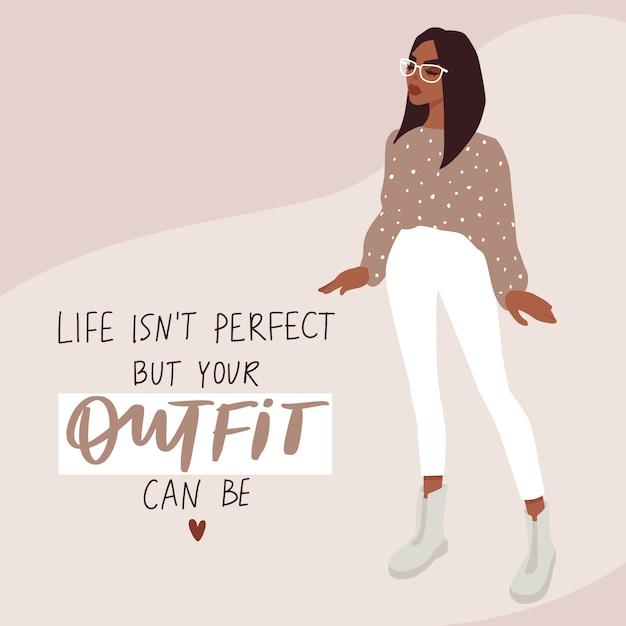 Carta di moda donna in stile piatto dei cartoni animati. ragazza alla moda in abiti alla moda Vettore Premium