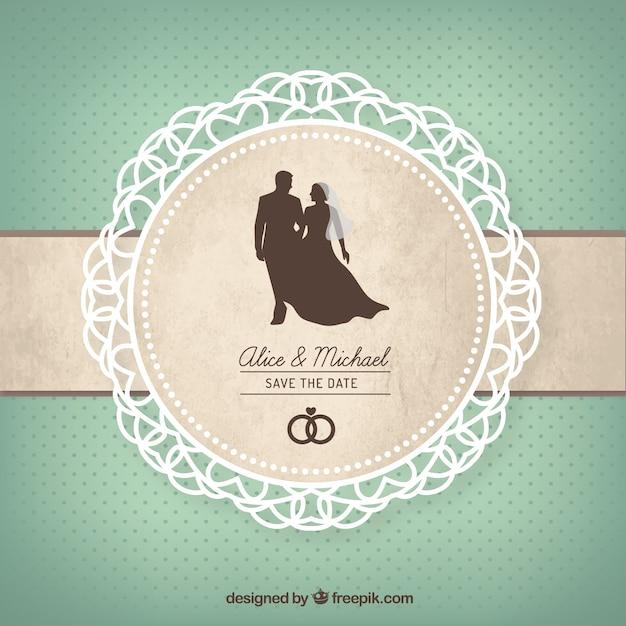 Carta di nozze carino Vettore Premium