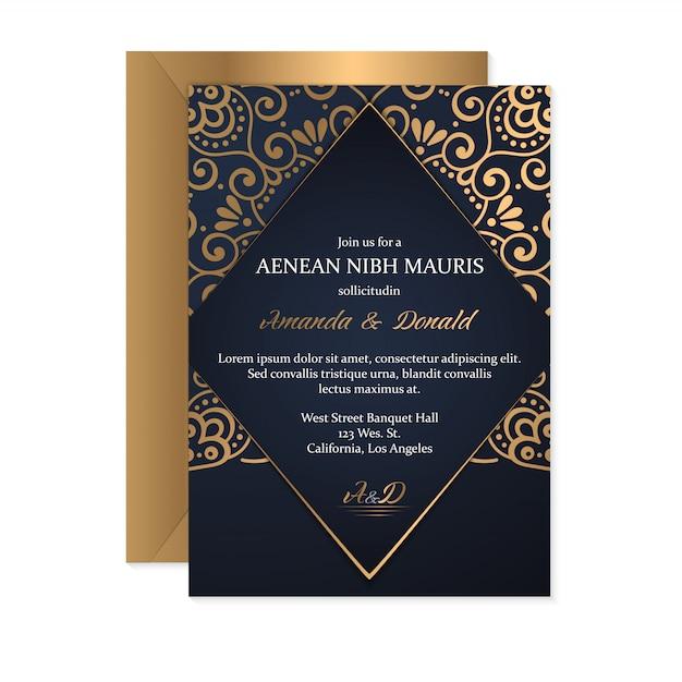Carta di nozze d'oro Vettore gratuito