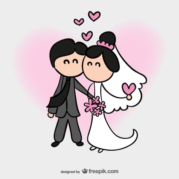 Carta di nozze fumetto Vettore gratuito