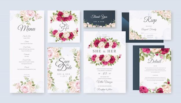 Carta di nozze imposta modello con belle floreali e foglie Vettore Premium