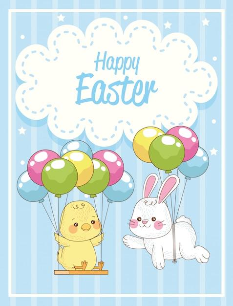 Carta di pasqua felice con coniglio e pulcino in elio dei palloni Vettore Premium