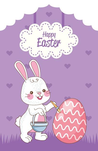 Carta di pasqua felice con l'uovo della pittura del coniglio Vettore Premium