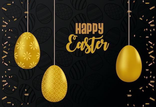 Carta di pasqua felice con le uova dorate dipinte che appendono progettazione dell'illustrazione di vettore Vettore Premium