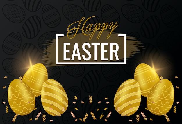 Carta di pasqua felice con lettere e uova dorate dipinte Vettore Premium