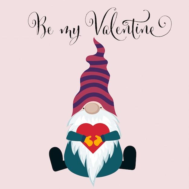 Carta di san valentino con gnome Vettore Premium