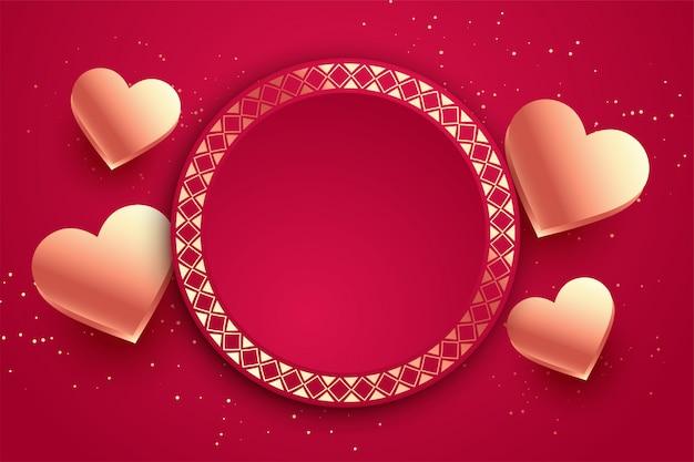 Carta di san valentino cuori amore con lo spazio del testo Vettore gratuito