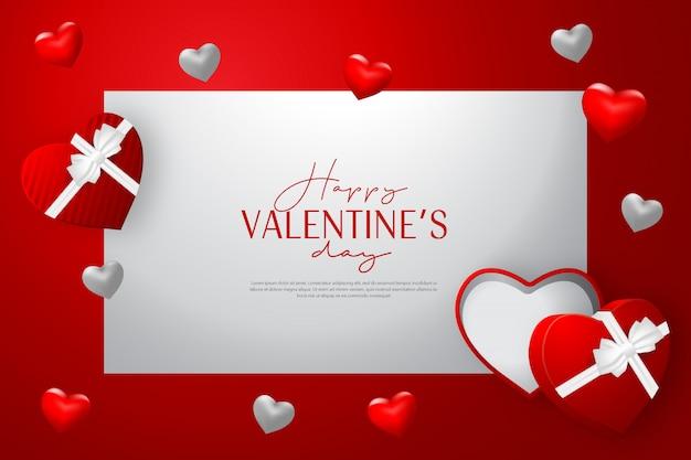 Carta di san valentino felice con regalo aperto e sfondo di forma di amore rosso Vettore Premium