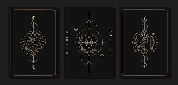 Carta di tarocchi di simboli astrologici geometrici Vettore gratuito