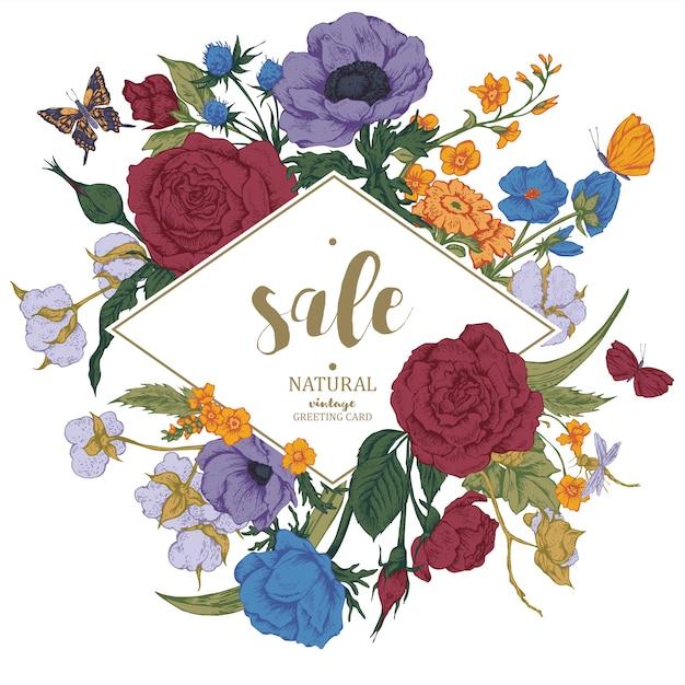 Carta di vendita vettoriale floreale vintage con rose, anemoni e butterf Vettore Premium