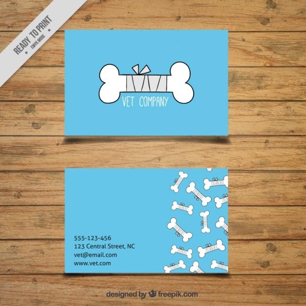 Carta di veterinaria con disegni di ossa Vettore gratuito