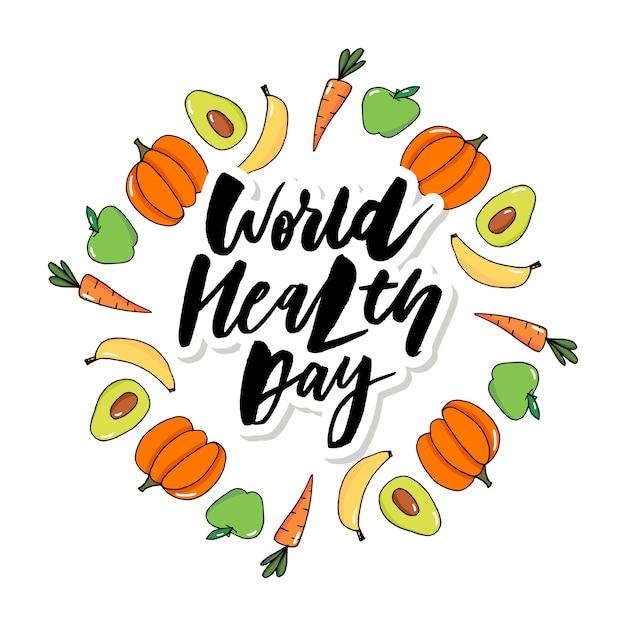 Carta di vettore di concetto - frutti delle verdure di giornata mondiale di salute Vettore Premium