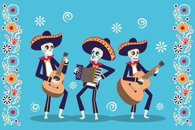 Carta dia de los muertos con teschi di mariachis che suonano strumenti Vettore Premium